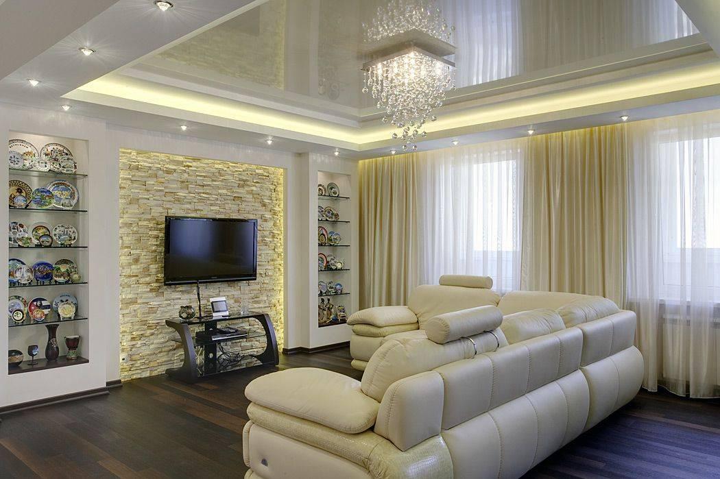 Двухуровневые натяжные потолки - фото, примеры дизайна в разных комнатах