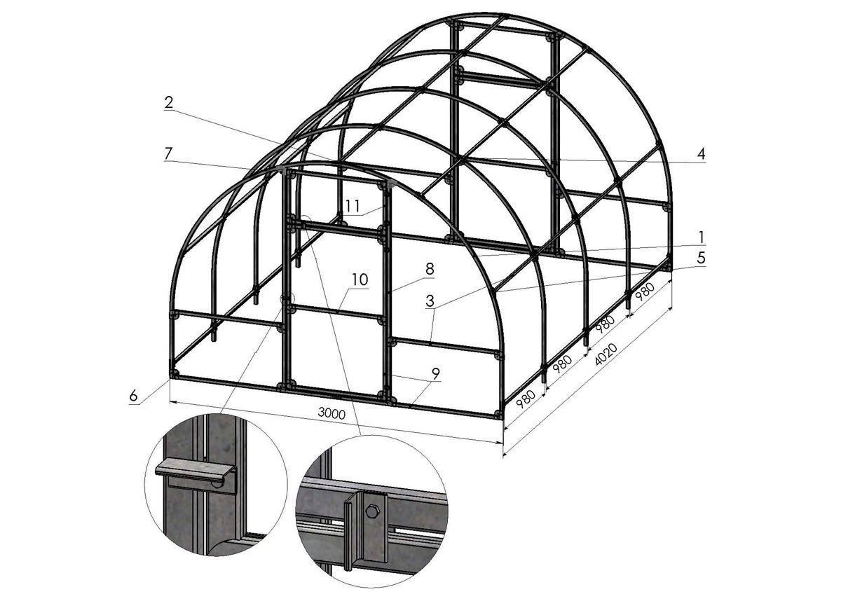 Изготовление теплицы из профильной трубы: конструкции, размеры и чертежи