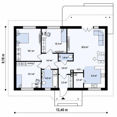 Проект дома 9 на 10 одноэтажный, фото, чертежи