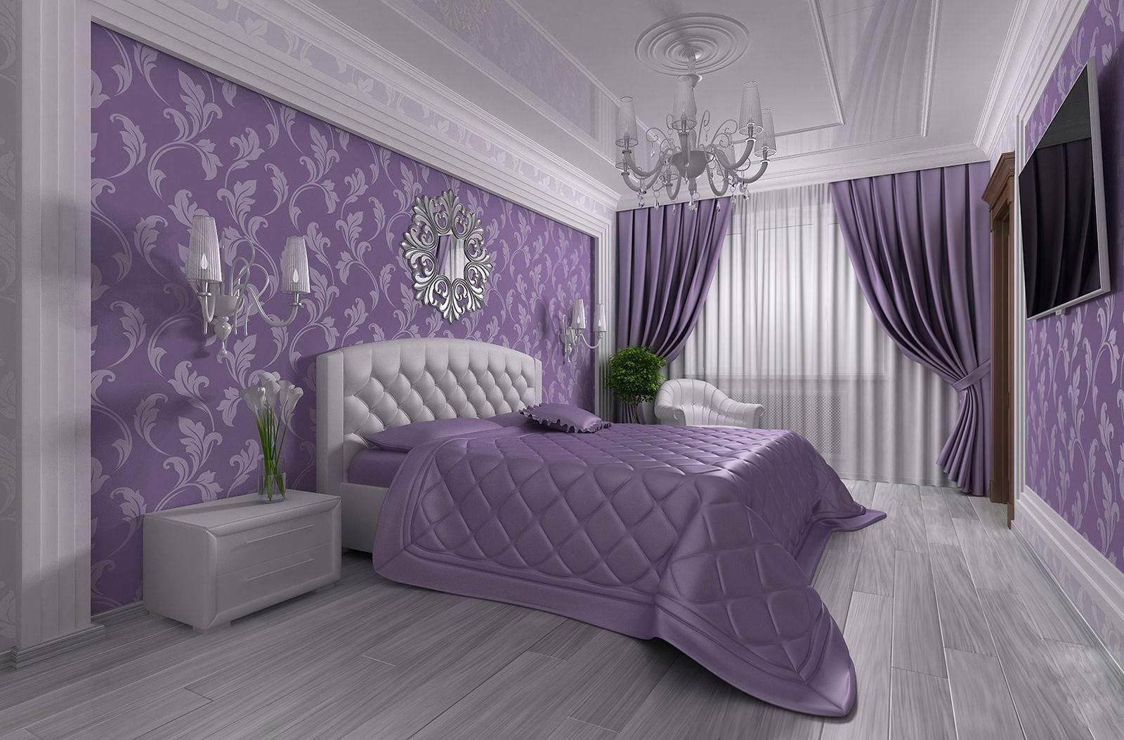 Спальня в сиреневых или фиолетовых тонах - сочетание цветов в интерьере, идеи дизайна с лавандовым, фиалковым, розовым, обзор вариантов с фото