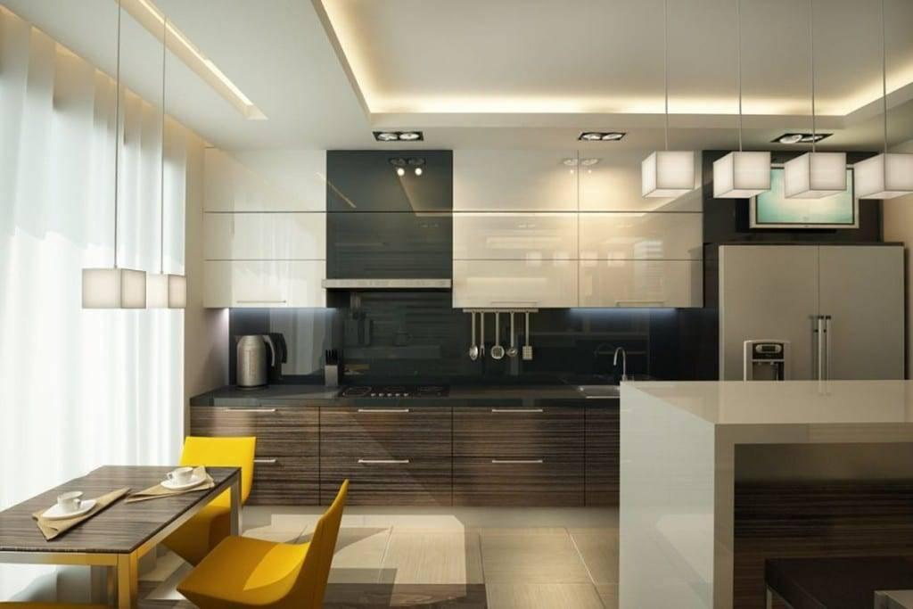 Натяжной потолок на кухне: как выбрать материал и дизайн (+ фото)