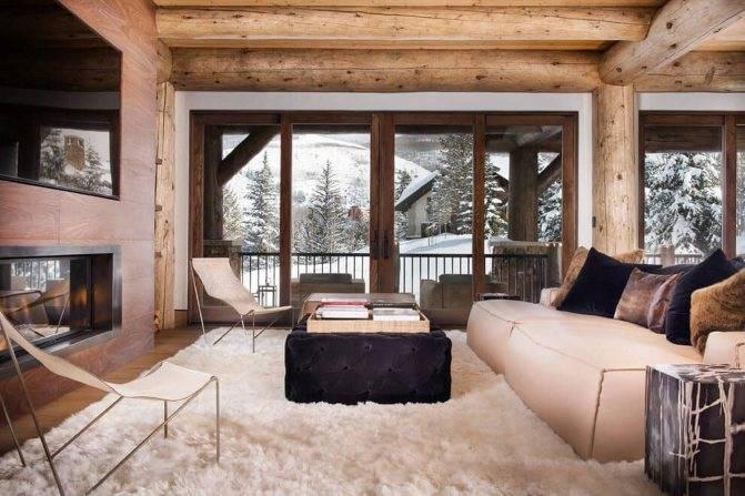 Интерьер дома из бревна: фото в комнатах, стили, отделка, мебель, текстиль и декор