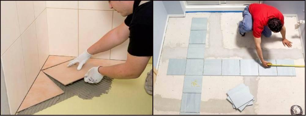 Укладка плитки на пол по диагонали: как класть напольную плитку, как укладывать длинные изделия, как правильно положить покрытие
