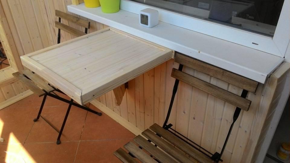 Откидной столик своими руками на балкон: чертежи и схемы