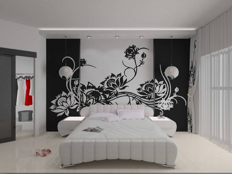 Рисунки жидкими обоями (47 фото): трафареты для рисования дерева и цветов на стене, как делать красивые эскизы, примеры в интерьере