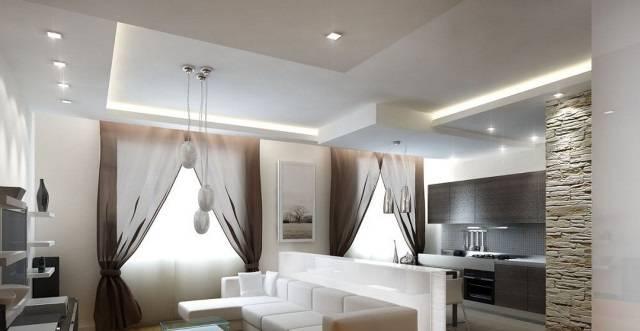 Двухуровневые потолки (83 фото): двухуровневый потолок в спальне, двухъярусные конструкции в прихожей