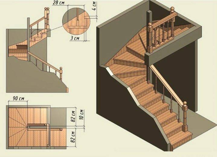 3d расчет лестницы с тремя пролетами и поворотными ступенями
