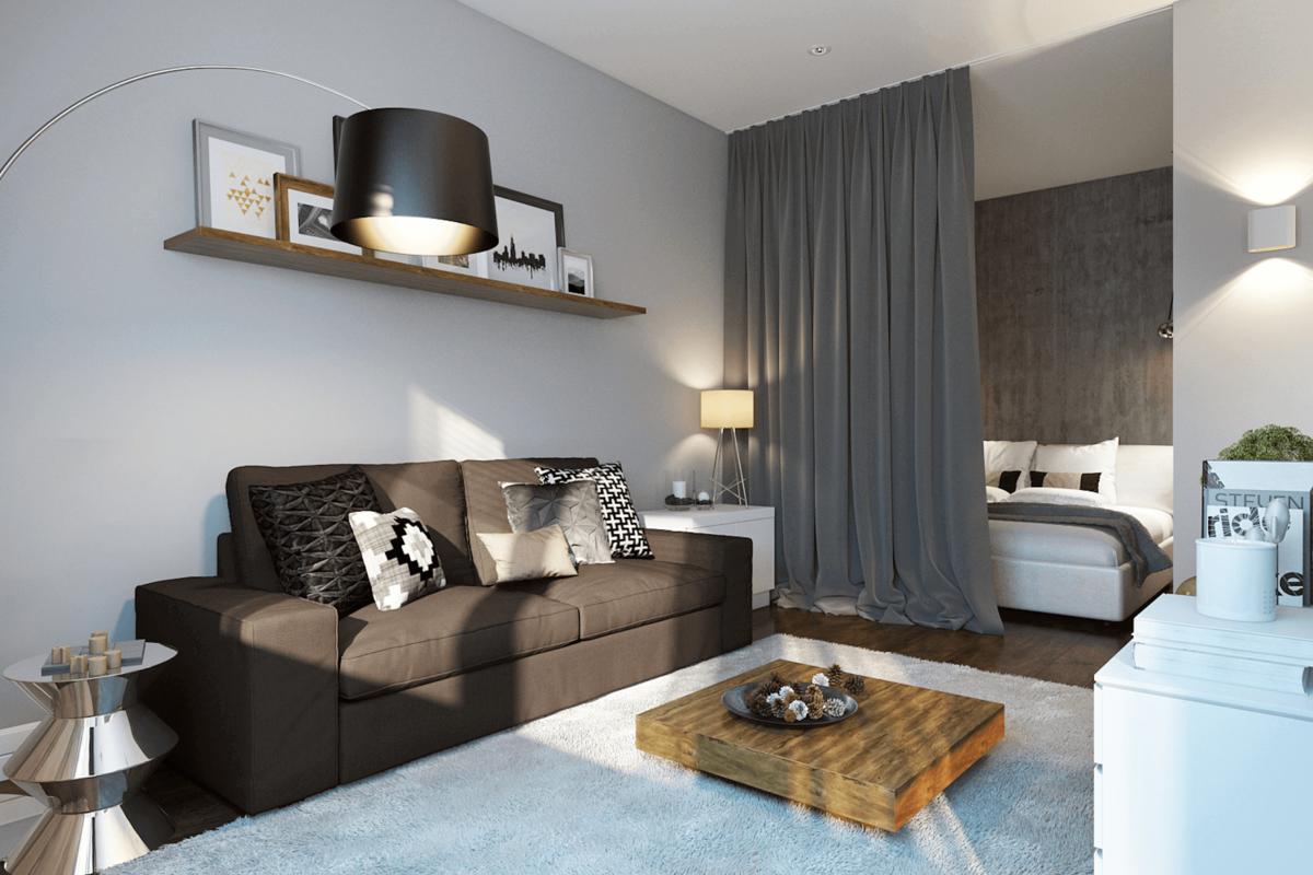 Дизайн квартиры-студии 30 кв. м. [80+ фото] планировки, зонирование