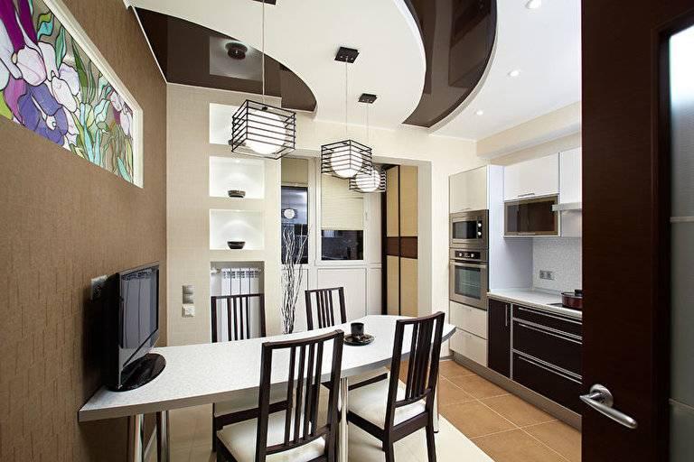 Натяжной потолок на кухне: дизайн, и  фото лучших вариантов, виды потолков, их плюсы и минусы установки на кухне