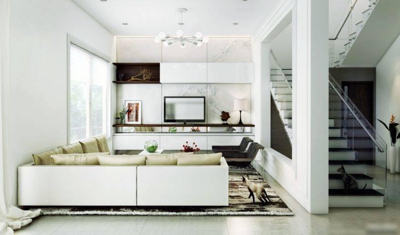 Интерьер гостиной в светлых тонах - фото дизайна
