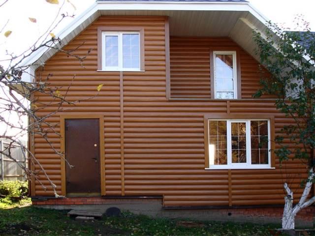 Металлический сайдинг под бревно (блок-хаус): инструкция по монтажу, размеры - фото домов, видео