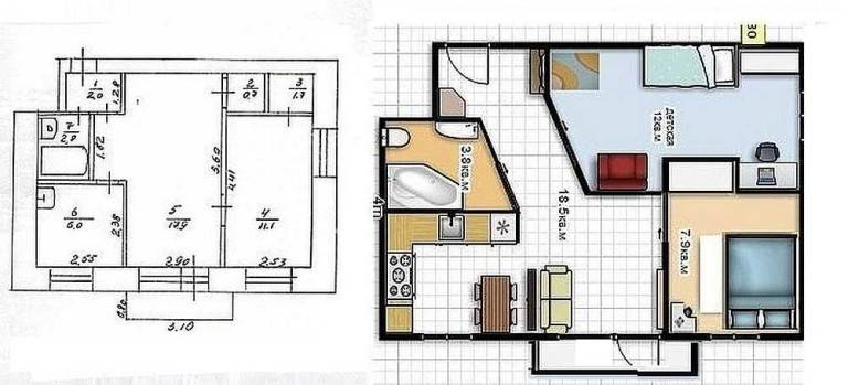 Перепланировка хрущевки: фото до и после, 1, 2, 3, 4 комнатные