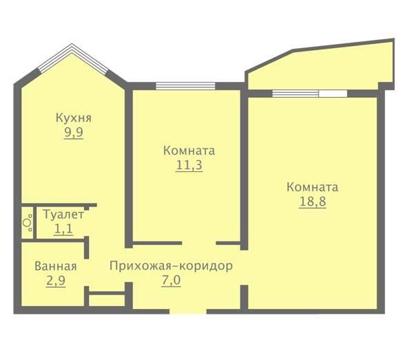 Domasan. дизайн-проект двухкомнатной квартиры п44т «распашонка»: фото планировки двушки-«распашонки» п-44т