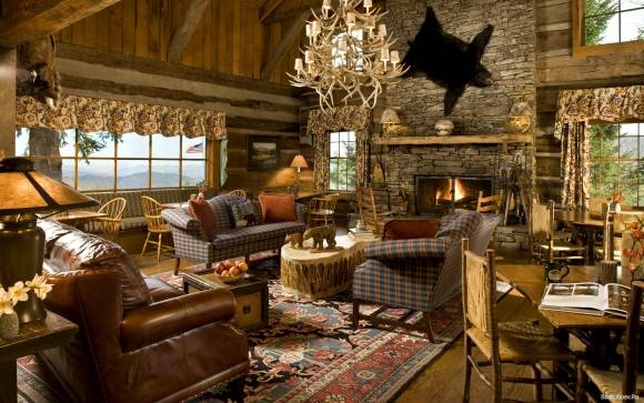 Интерьер деревянного дома — 21 фото