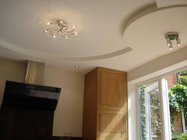 Дизайн потолков из гипсокартона на кухне (8 фото)