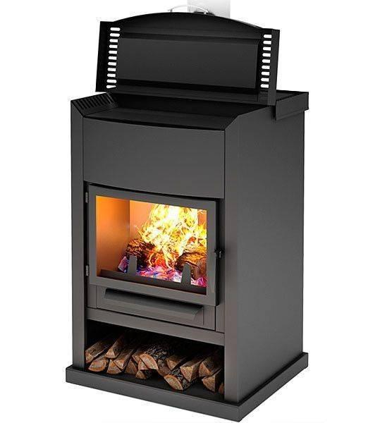 Печь камин с плитой, варочной поверхностью и духовкой, отопительно-варочная, с теплообменником, духовым шкафом, панелью для варки