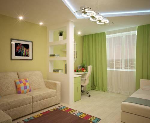 Дизайн однокомнатной квартиры для семьи сребёнком— 40 фото