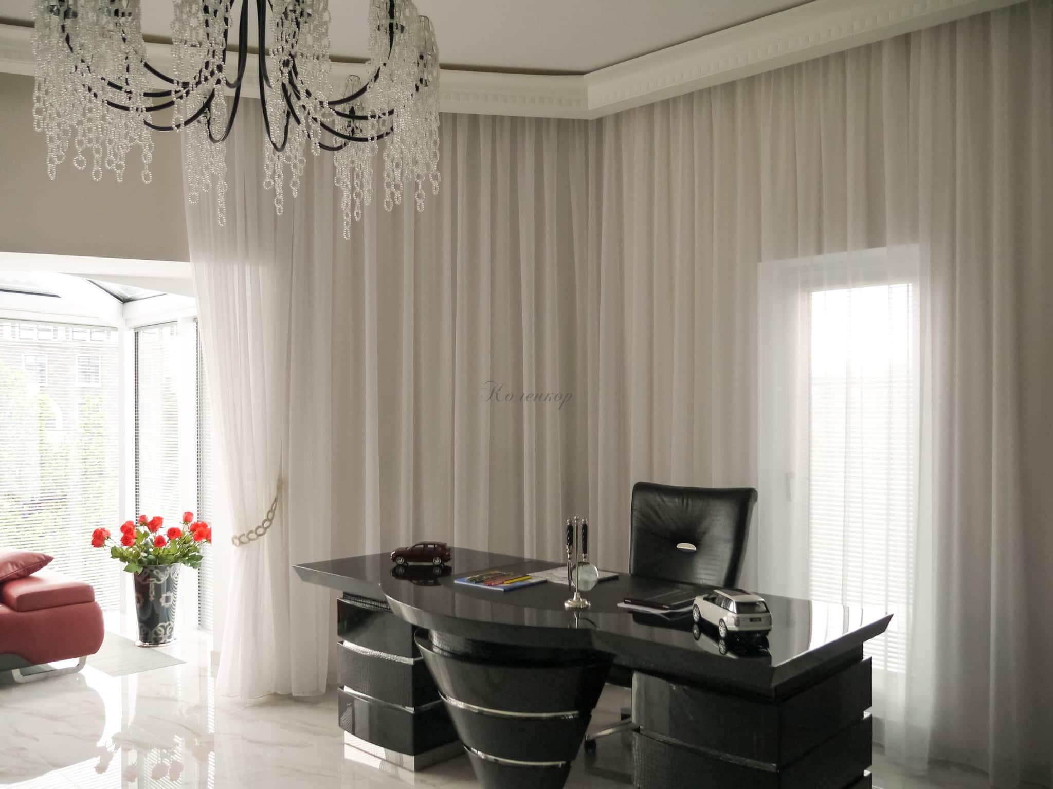 Лучшие шторы в кабинет или офис, фото дизайна офисных штор для руководителя и не только