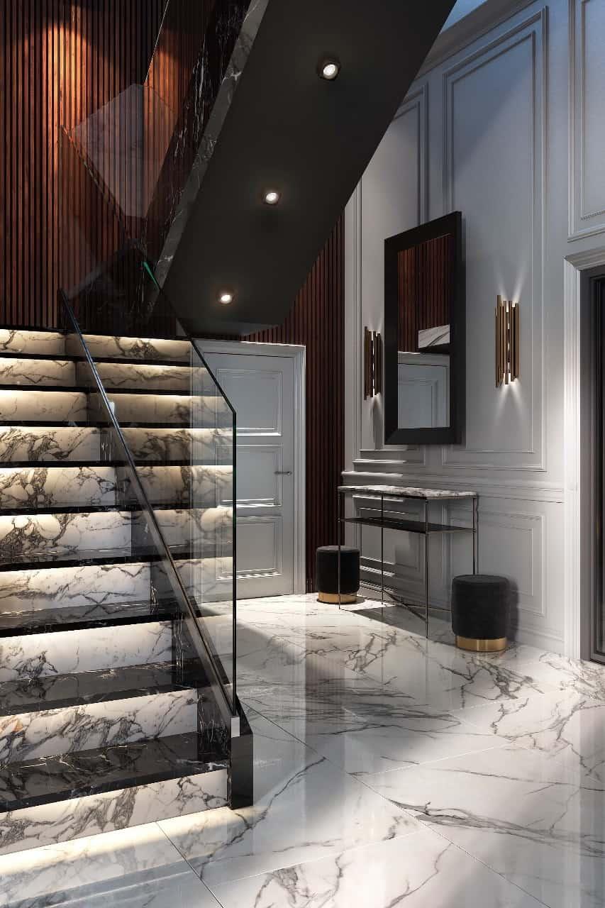 Дизайн гостиной с лестницей на второй этаж