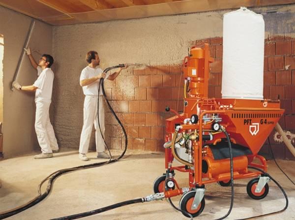 Механизированная штукатурка стен - оборудование и материалы