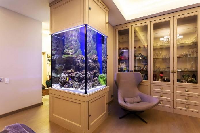 Аквариум встроенный в стену: как установить, виды встроенных аквариумов