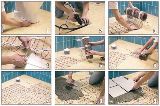 Теплый пол под плитку электрический своими руками - особенности монтажа