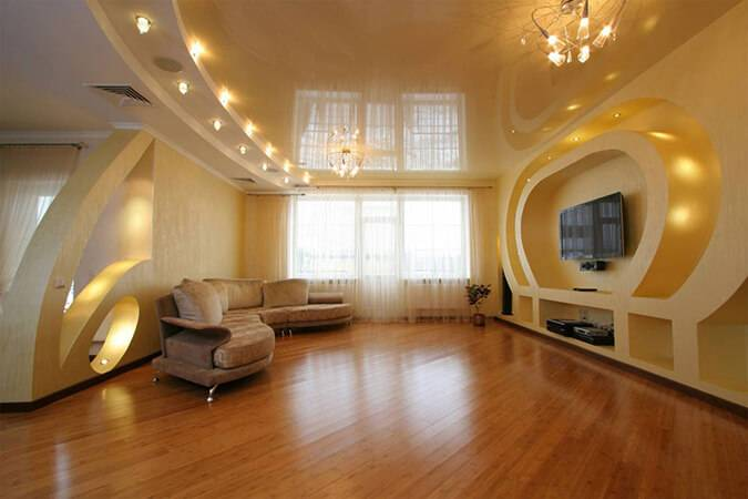 Потолок в гостиной: основные типы конструкций (120 фото)