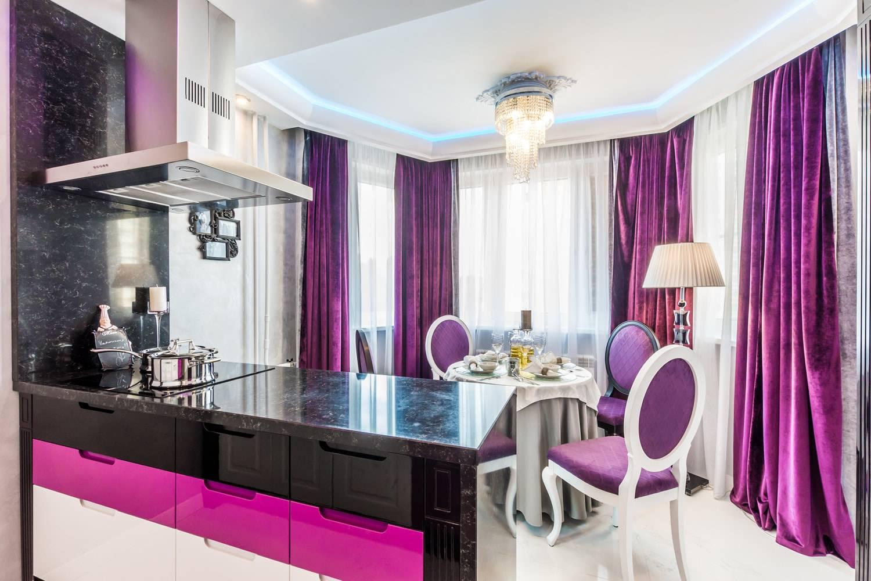 Фиолетовые шторы — 125 фото идей дизайна. варианты идеального сочетания в интерьере.