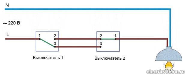 Схема подключения проходного выключателя из 2 мест