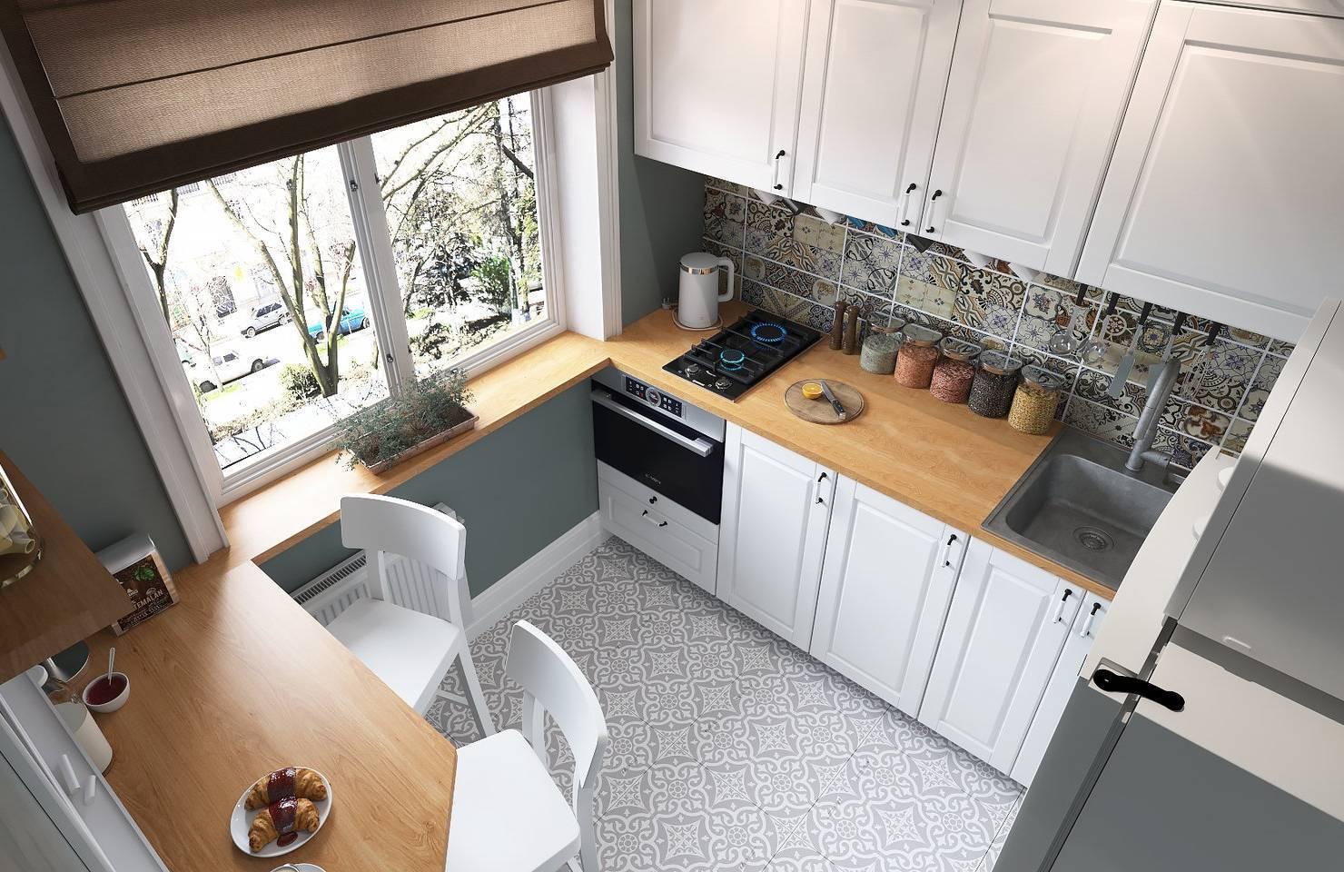Кухонный гарнитур с окном посередине: виды и выбор кухни