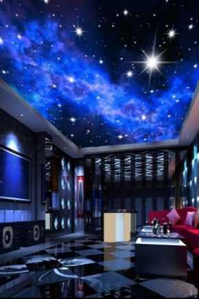Натяжной потолок звездное небо: шедевр в доме