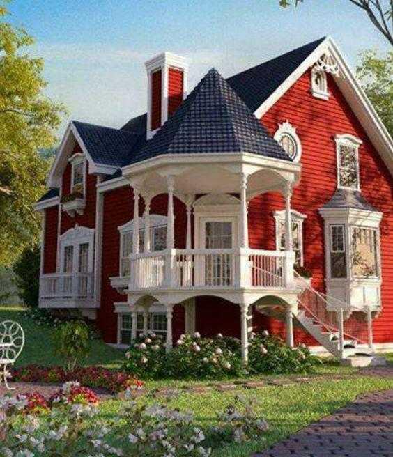 В какой цвет покрасить фасад дома снаружи, если крыша зеленая, коричневая или синяя  - 23 фото