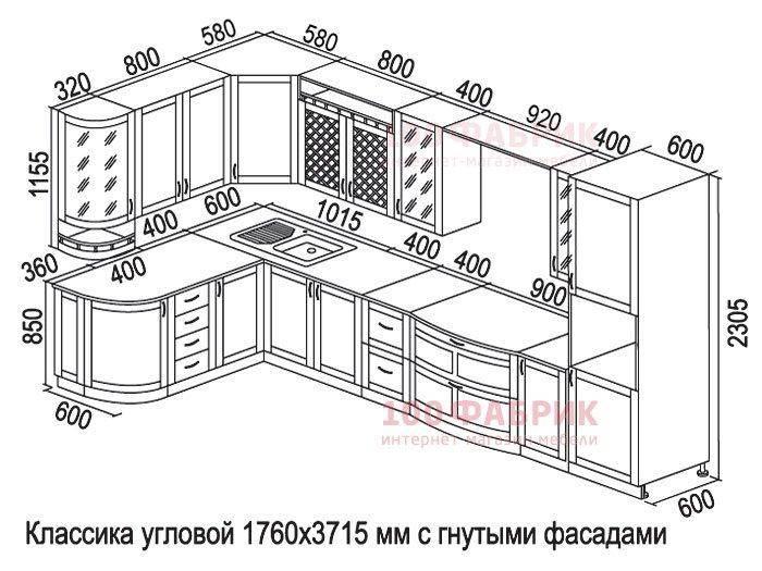 Высота кухонного гарнитура: от пола, стандартные размеры, глубина и ширина