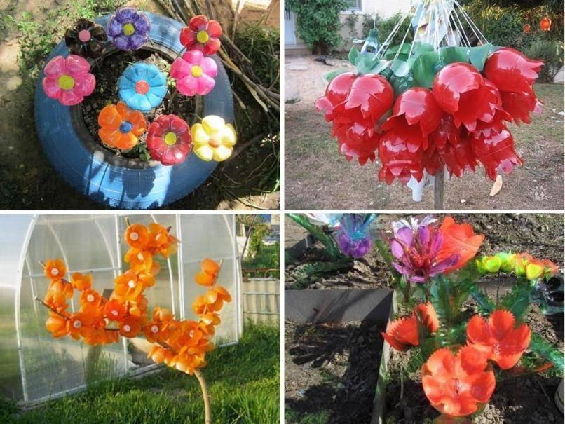 Цветы из пластиковых бутылок пошагово для начинающих — мастер-классы для сада и огорода
