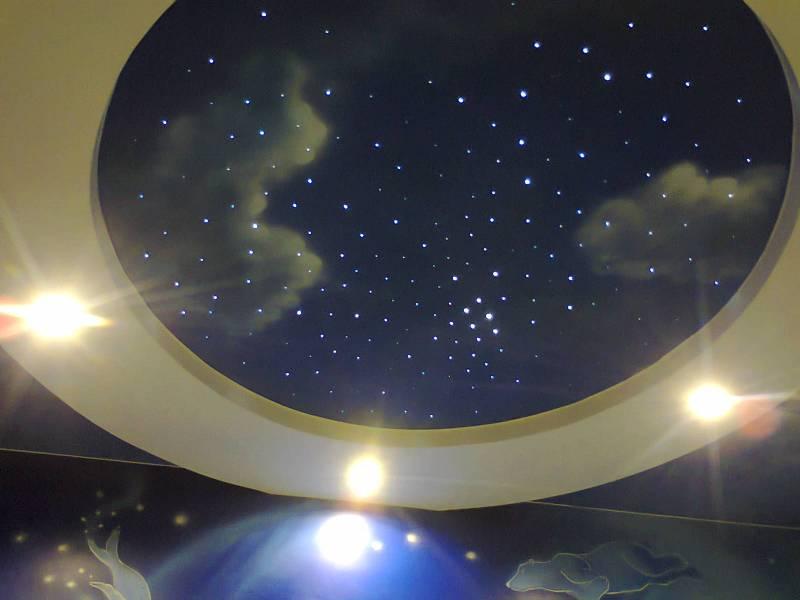 Натяжной потолок «небо» (59 фото): принт в виде голубых облаков в интерьере, отзывы