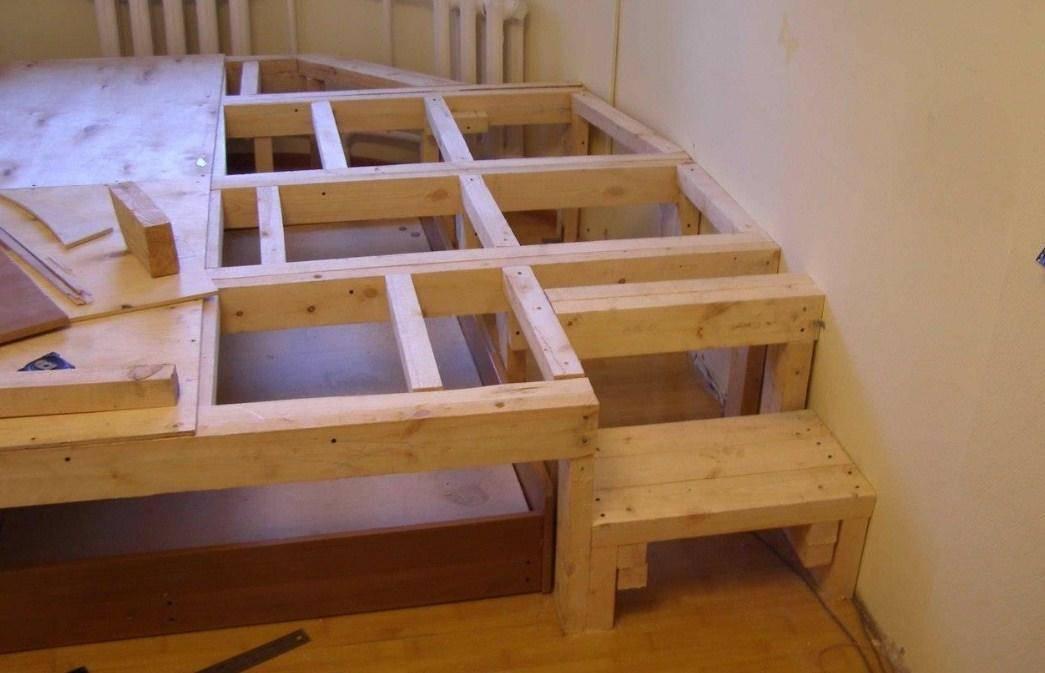 Кровать-подиум своими руками: пошаговая инструкция, чертежи и размеры