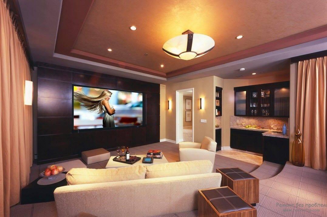 Домашний кинотеатр в интерьере: особенности расположения и обустройства домашнего кинотеатра с фото.
