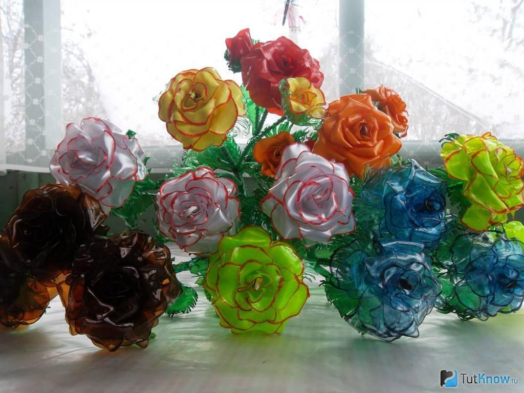 Цветы из пластиковых бутылок мк | страна мастеров