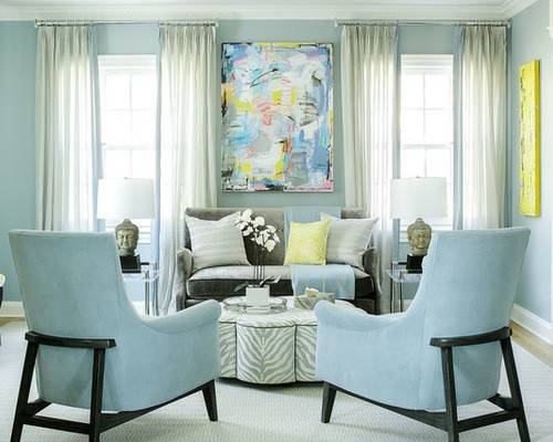 Выбор штор к голубым обоям — фото с правилами применения