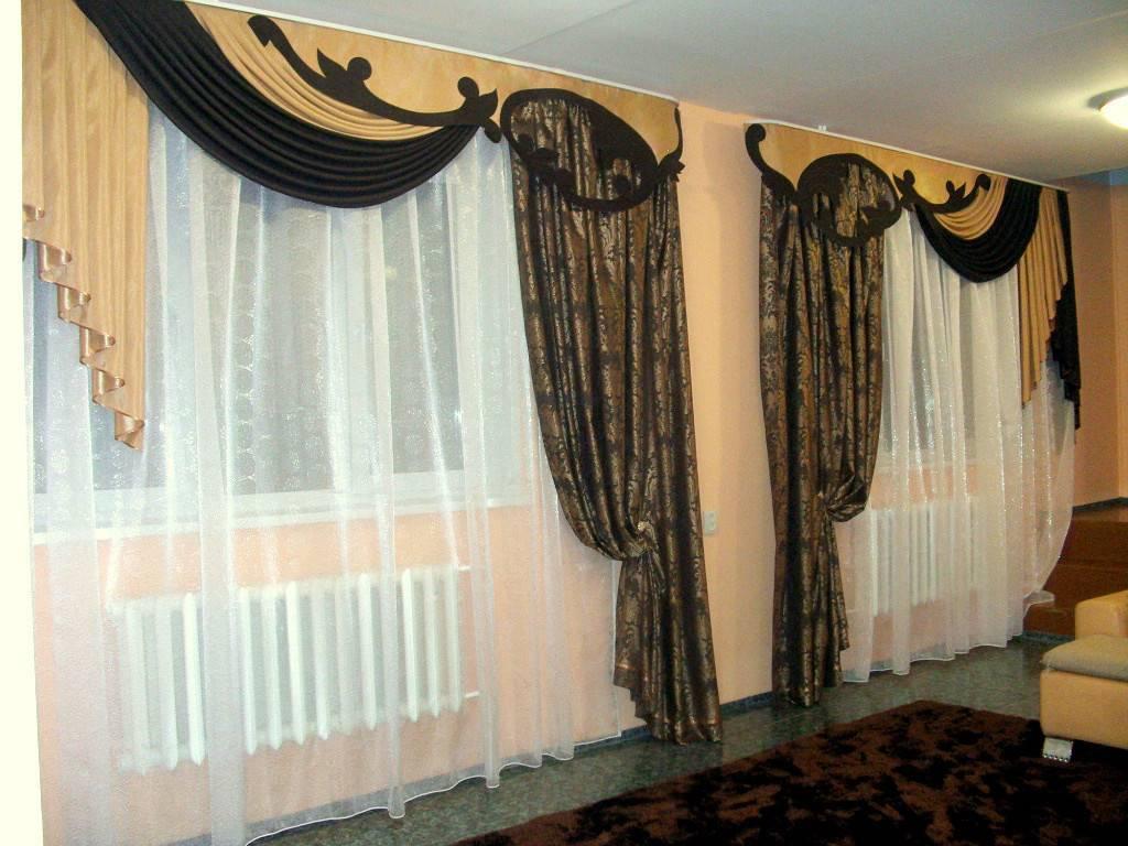 Шторы в зал с ламбрекенами, без ламбрекенов, с фото