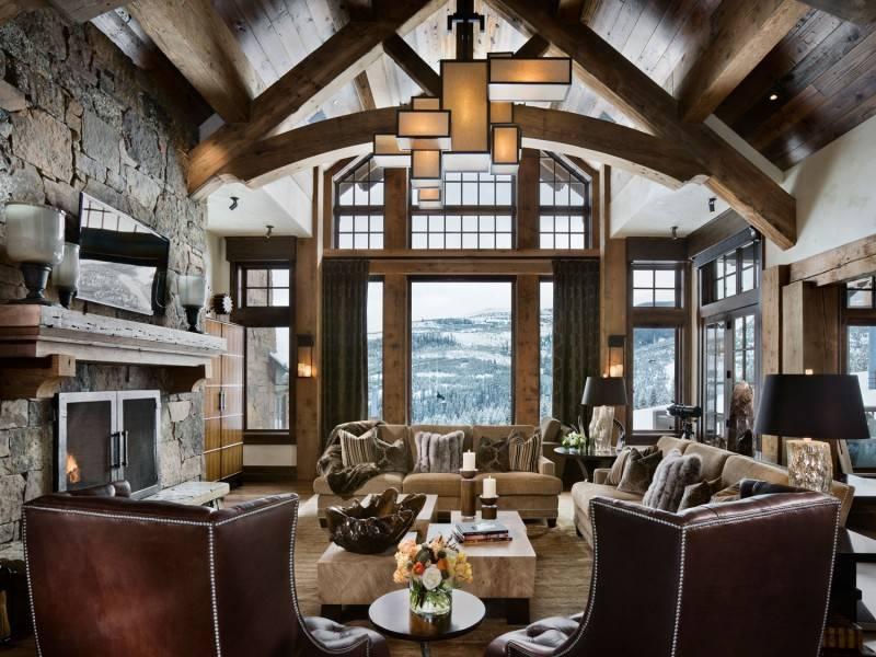 Интерьер гостиной в стиле шале — особенности оформления, советы по выбору цвета и декора, успешные фото