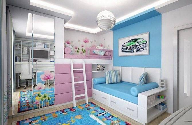 Дизайн детской спальни для двух и трех разнополых детей — 240+ Идей зонирования интерьера