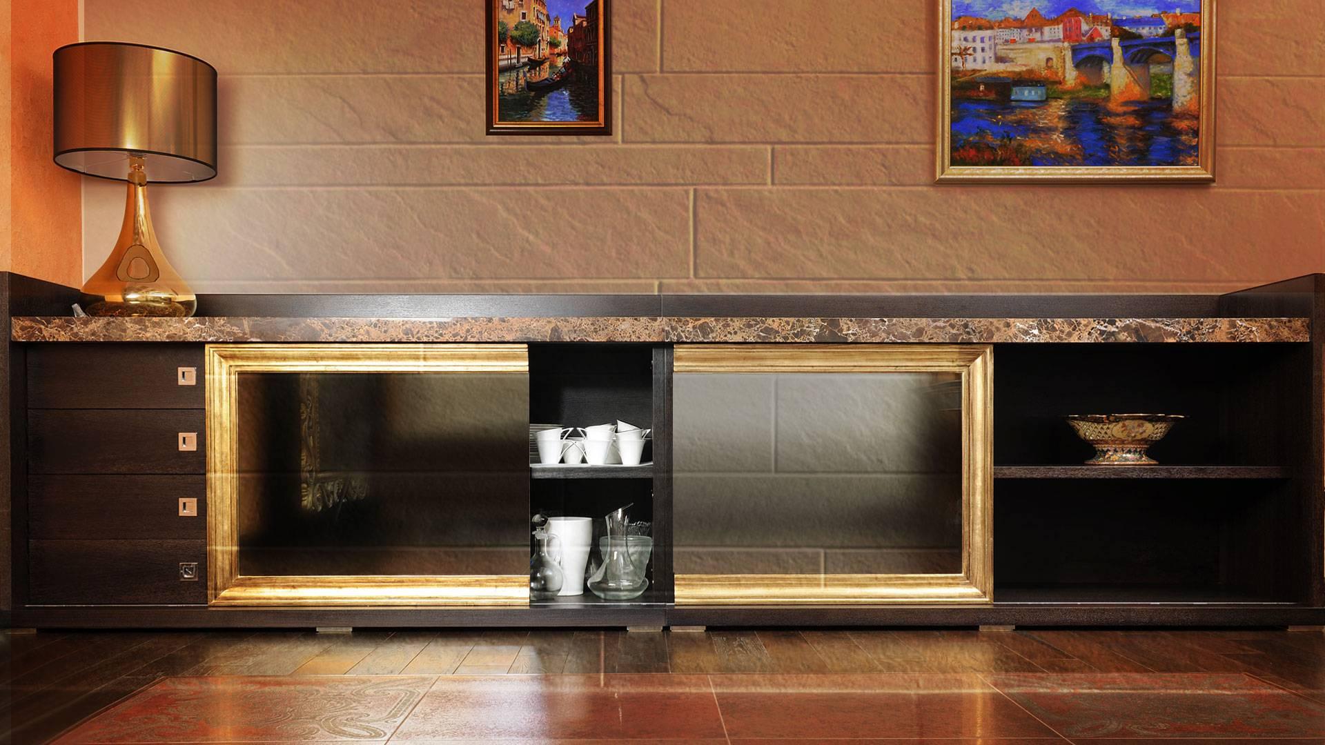 Тумба бар для гостиной: дизайн барной витрины для зала, угловые мини комоды в современном стиле интерьера