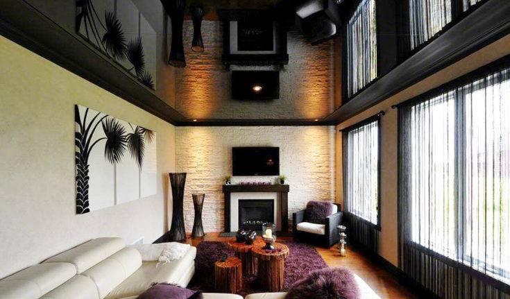 Потолок черного цвета, черный потолок в интерьере