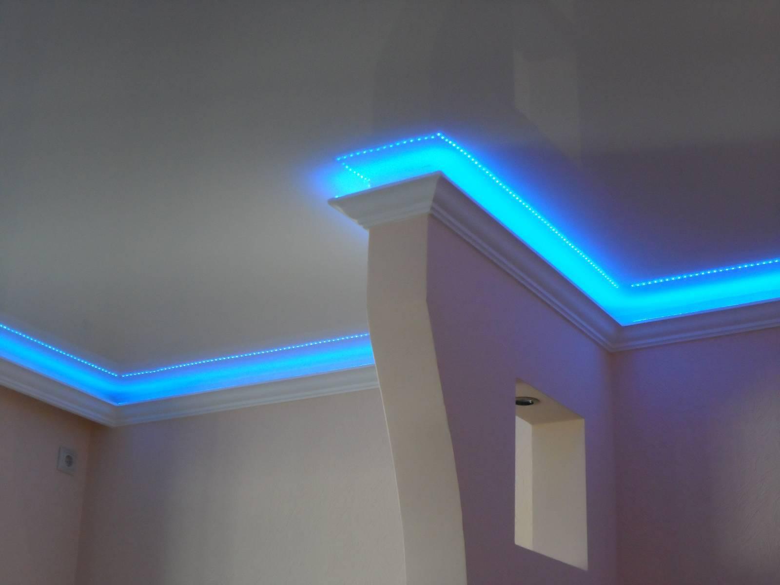 Подсветка потолка светодиодной лентой, установка светодиодной ленты под натяжной потолок