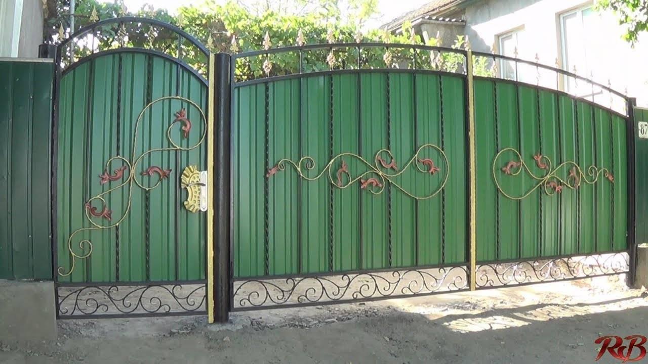 Ворота из профнастила (профлиста): выбор конструкции ворот и калитки, подбор материала, пошаговые рекомендации по изготовлению