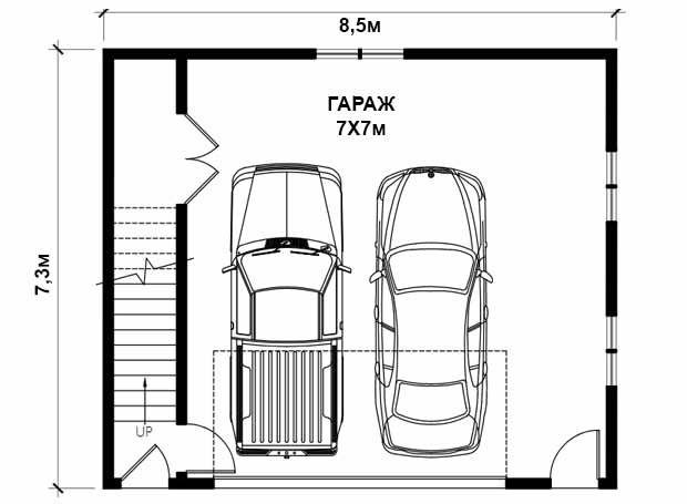 Проект гаража на две машины: фото с ценами и планировки с размерами
