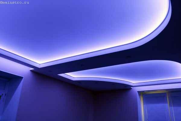 Натяжной потолок с подсветкой по периметру: фото и на сколько опускается при установке