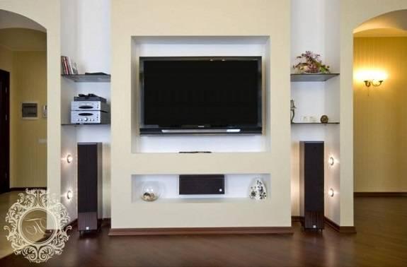 Ниша из гипсокартона под телевизор (75 фото) - дизайн, оформление и отделка, как сделать своими руками
