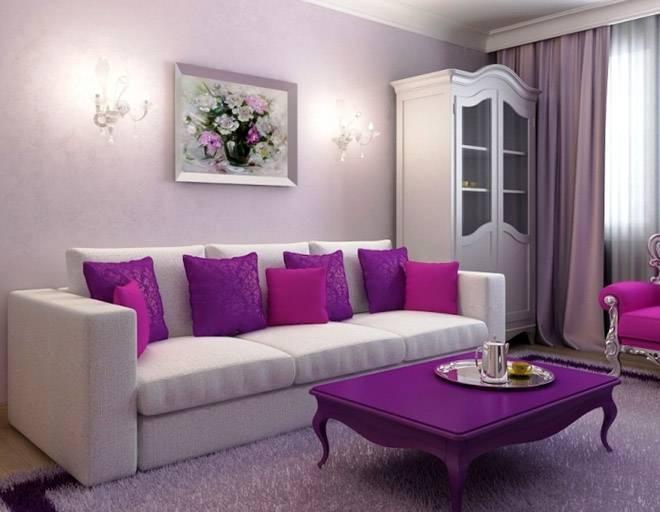 Дизайн спальни в сиреневых тонах
